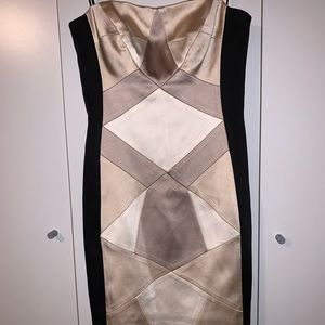Size 2 Cachè Beige and Black Formal Dress